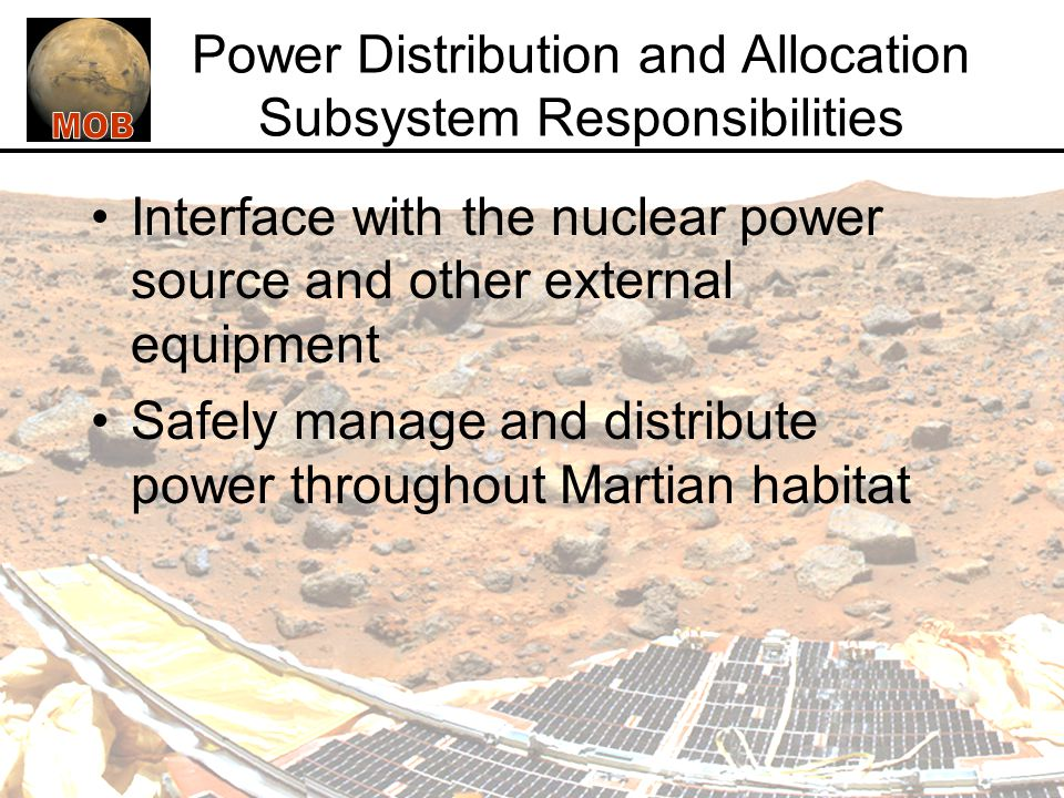 Power Distribution and Allocation Subsystem Responsibilities