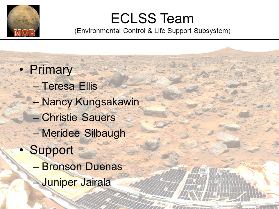 ECLSS Team (Environmental Control & Life Support Subsystem)