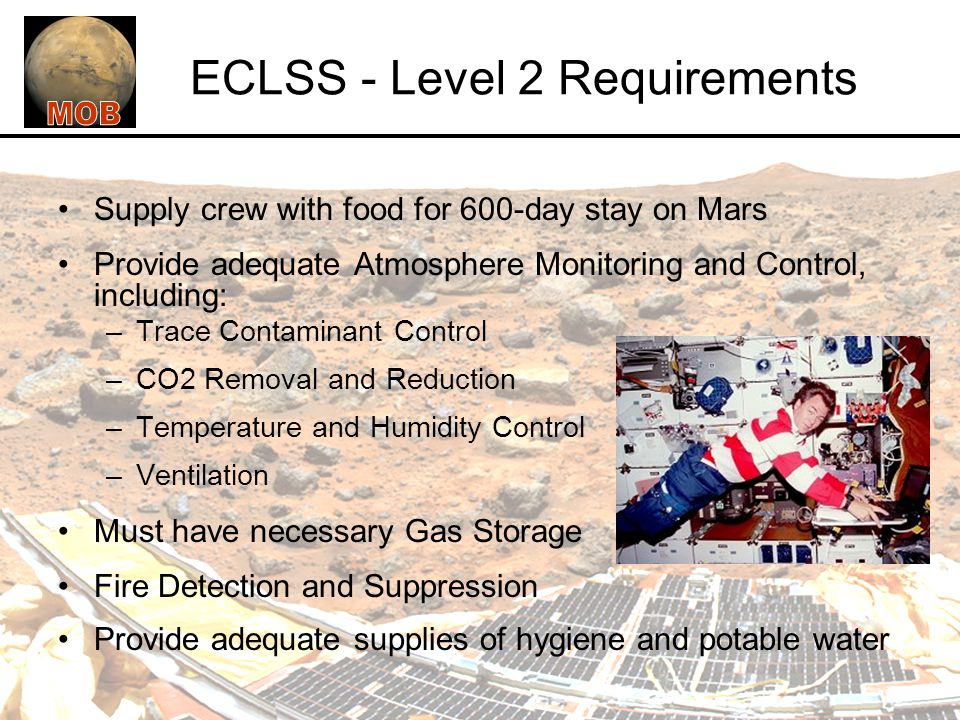 ECLSS - Level 2 Requirements