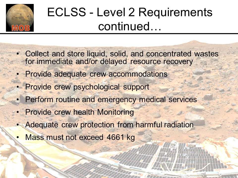 ECLSS - Level 2 Requirements continued…