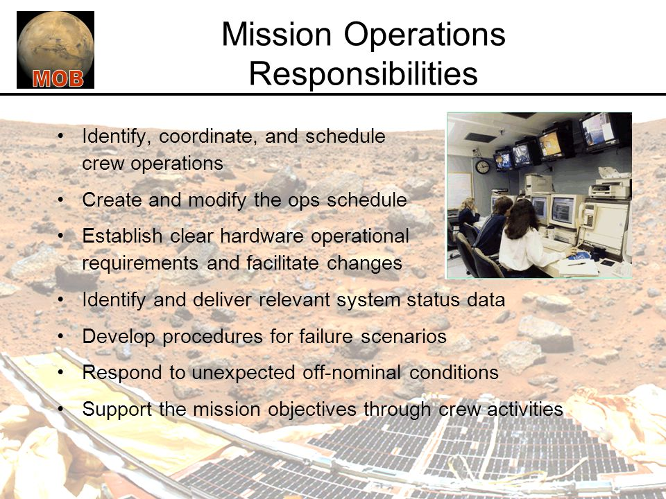 Mission Operations Responsibilities