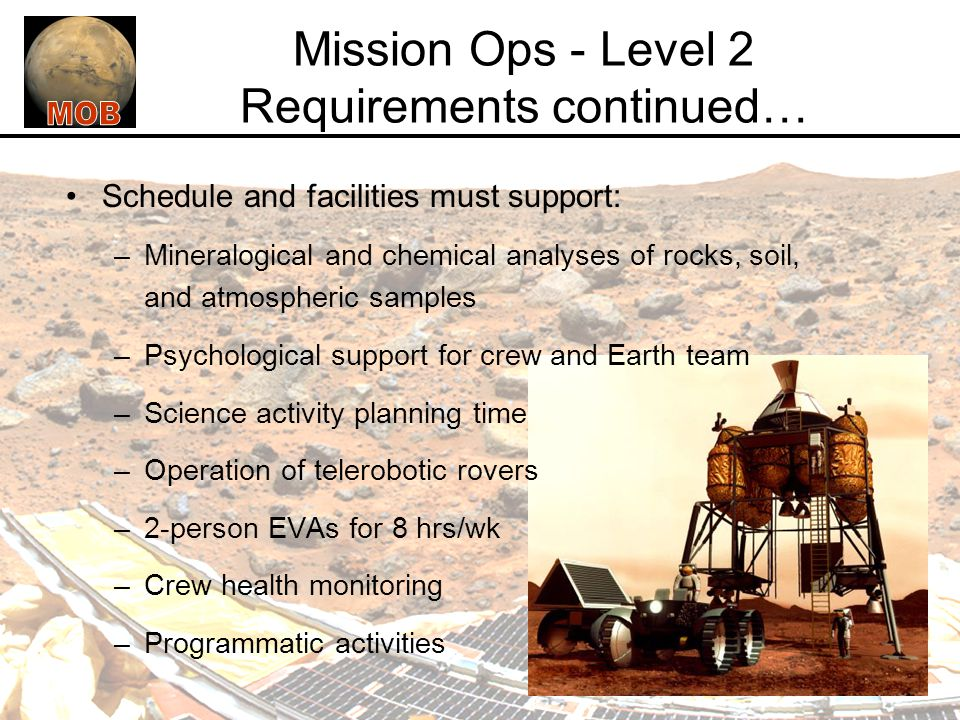 Mission Ops - Level 2 Requirements continued…