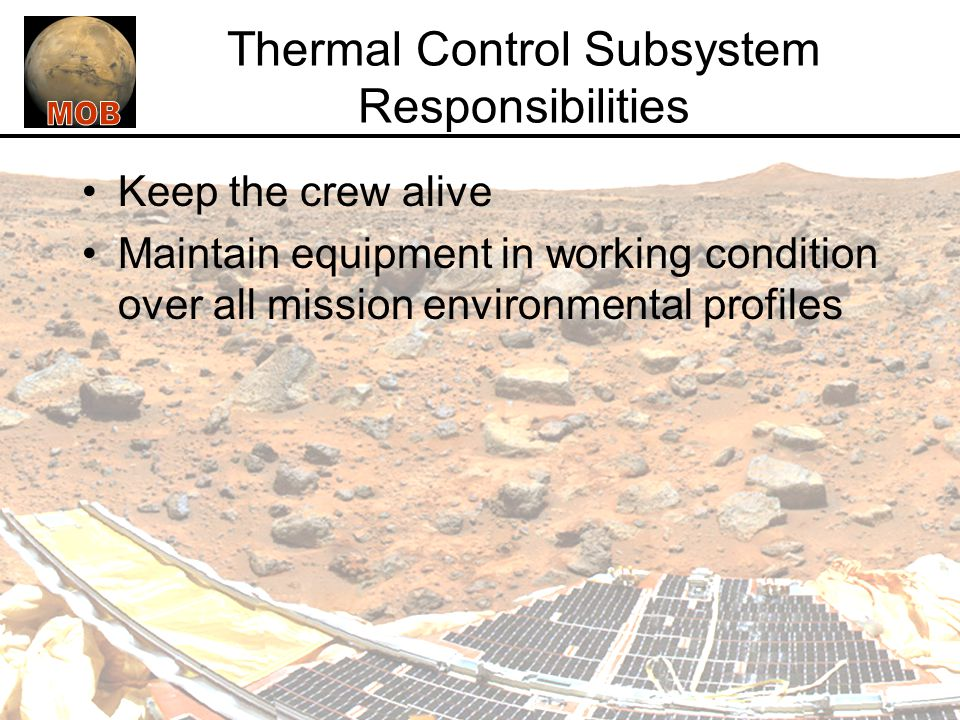 Thermal Control Subsystem Responsibilities