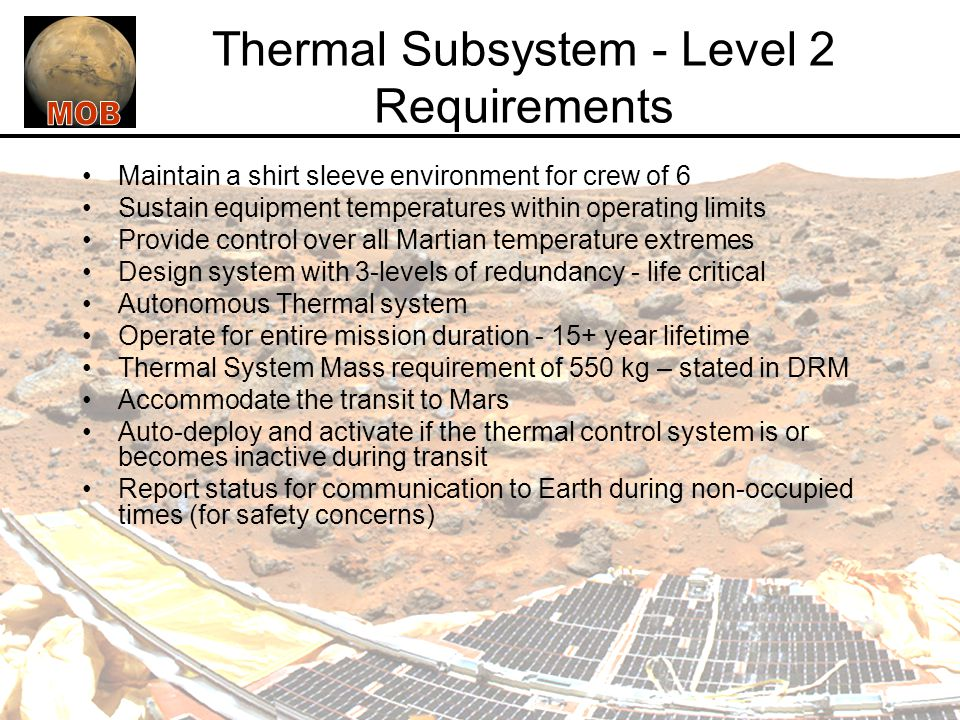 Thermal Subsystem - Level 2 Requirements