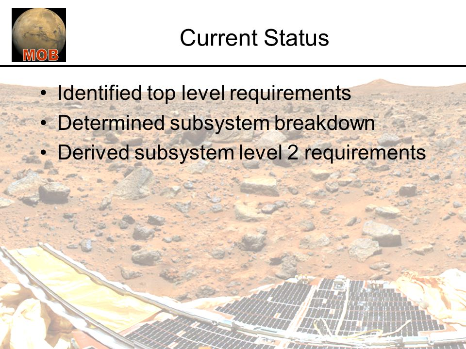 Current Status Identified top level requirements