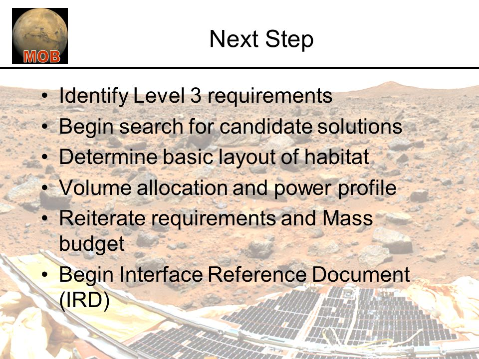 Next Step Identify Level 3 requirements