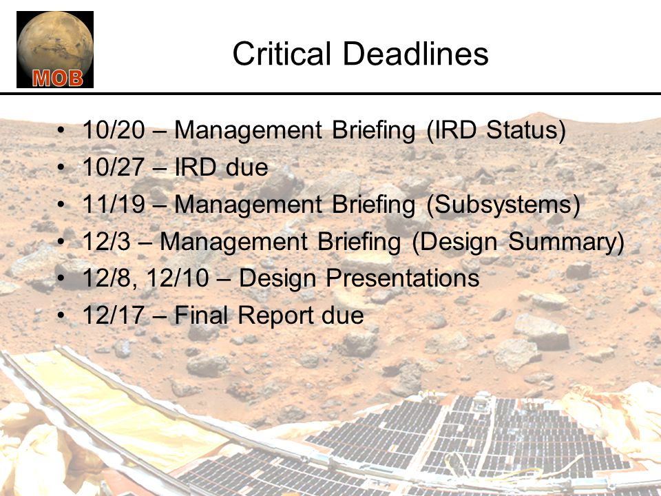 Critical Deadlines 10/20 – Management Briefing (IRD Status)