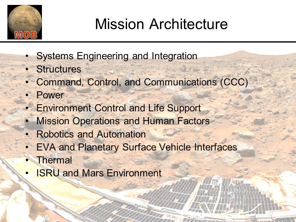 Mission Architecture Systems Engineering and Integration Structures