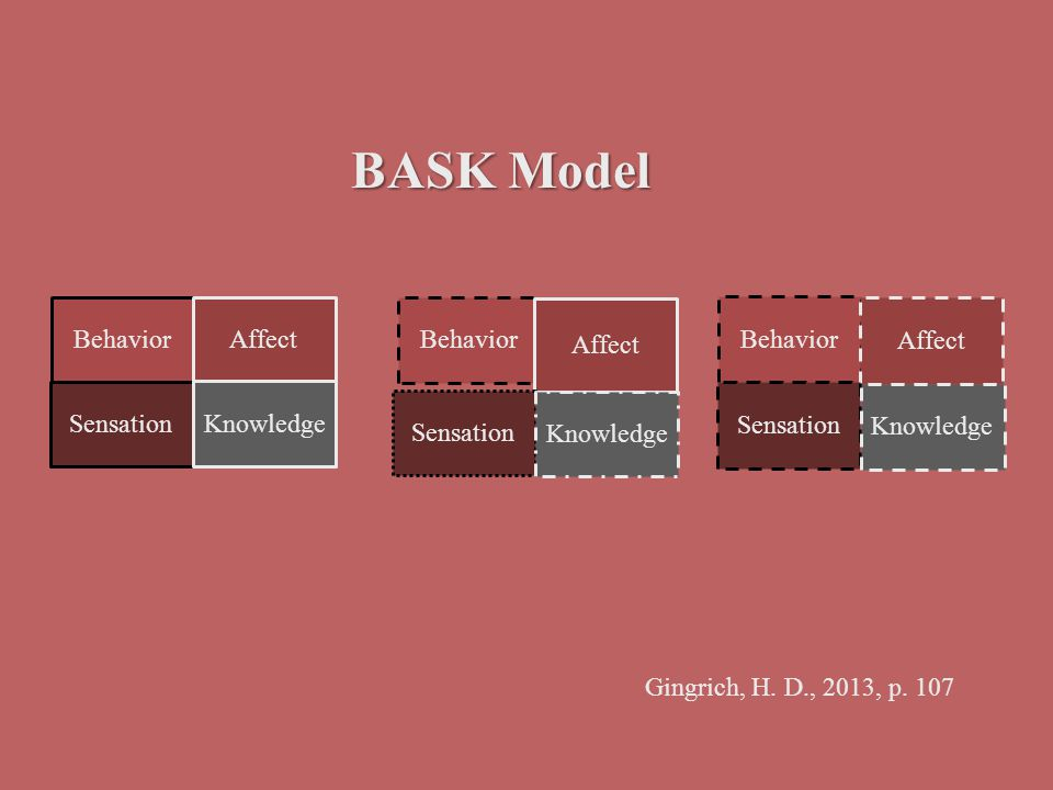 BASK Model Behavior Affect Sensation Knowledge Behavior Affect