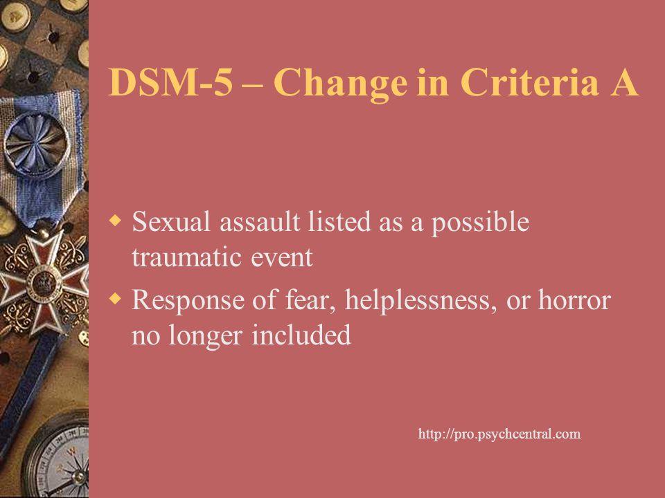 DSM-5 – Change in Criteria A