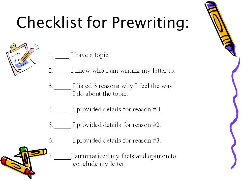 Checklist for Prewriting: