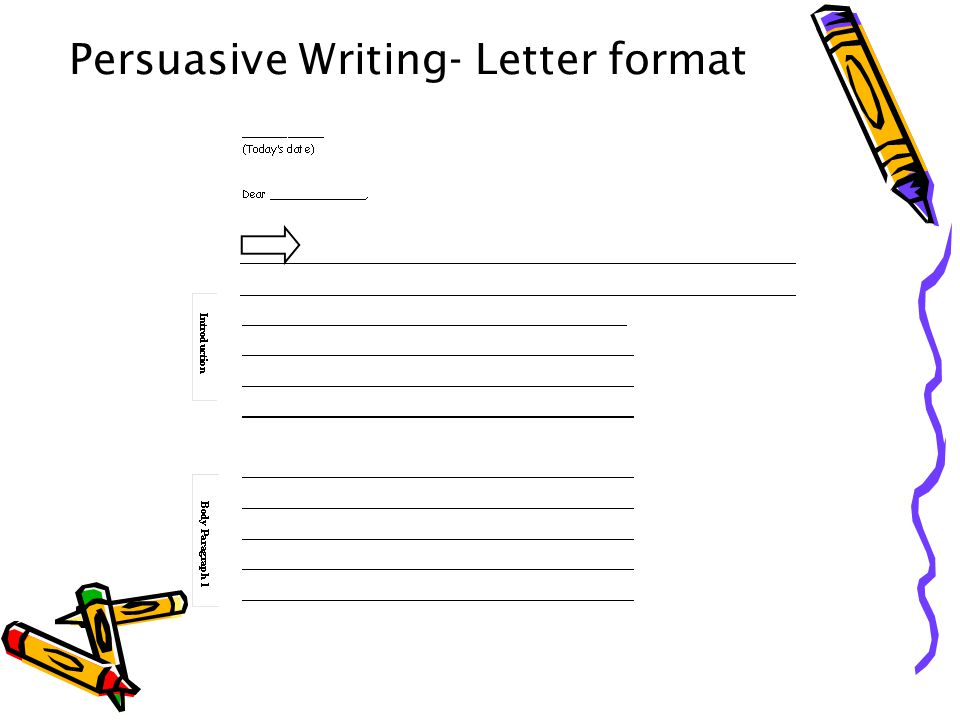 writing persuasive letters This educational poster highlights the different parts of a persuasive letter and gives students a visual reference when planning and writing letters heading – your name and address date – the date you wrote your letter on greeting – your hello opinion – clearly state why you are writing.