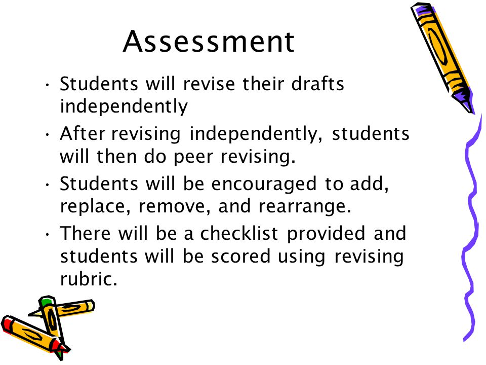 Assessment Students will revise their drafts independently