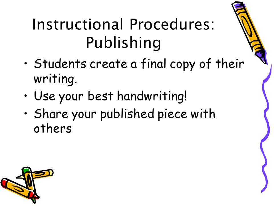 Instructional Procedures: Publishing