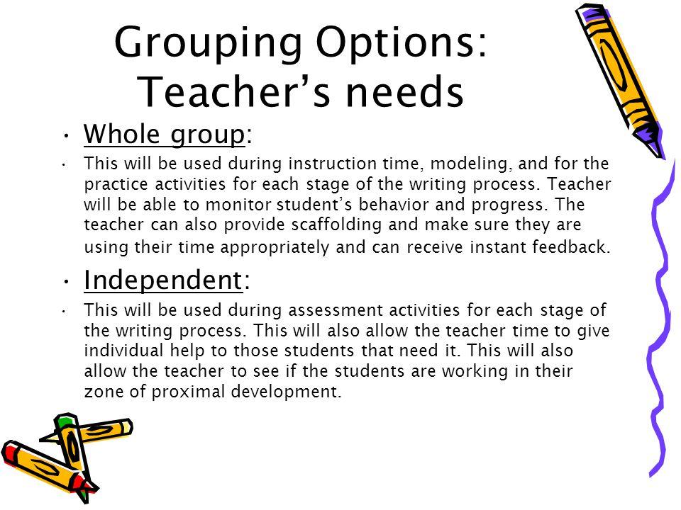 Grouping Options: Teacher's needs