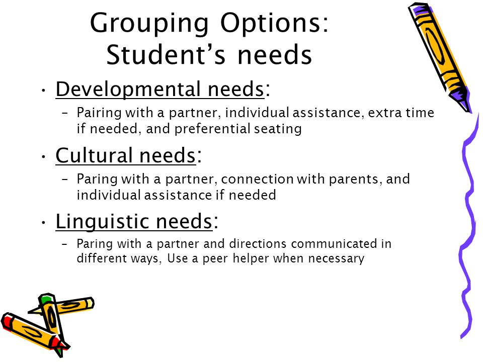 Grouping Options: Student's needs