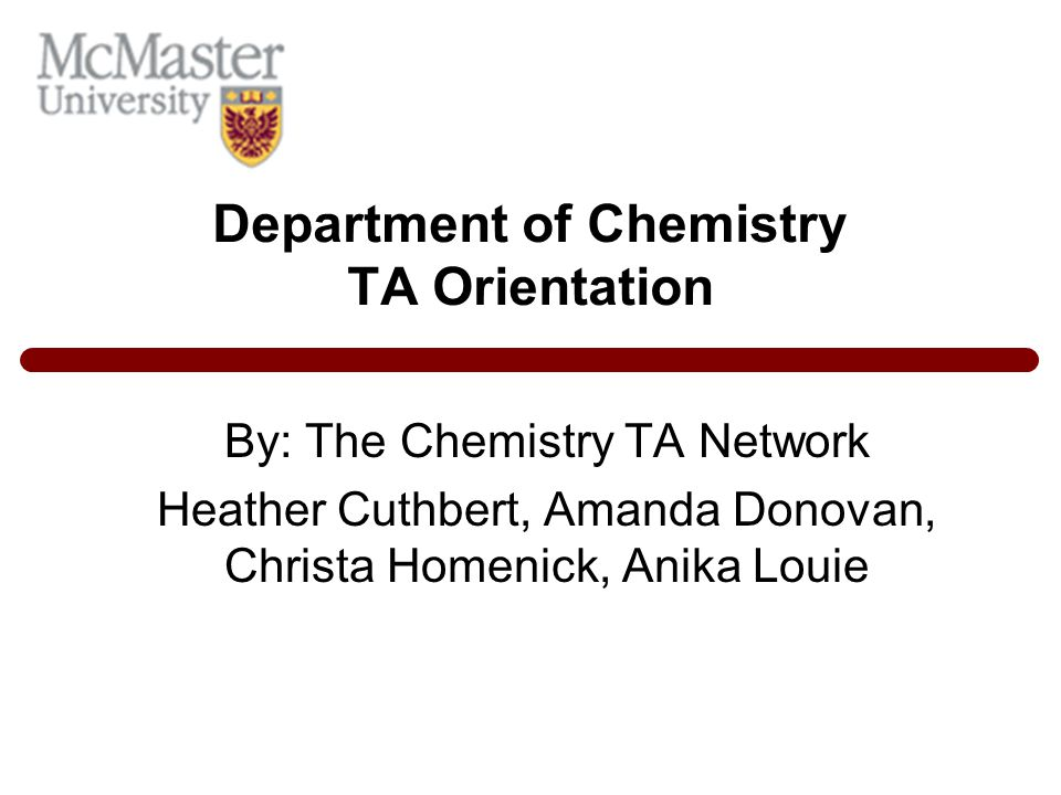 Department of Chemistry TA Orientation
