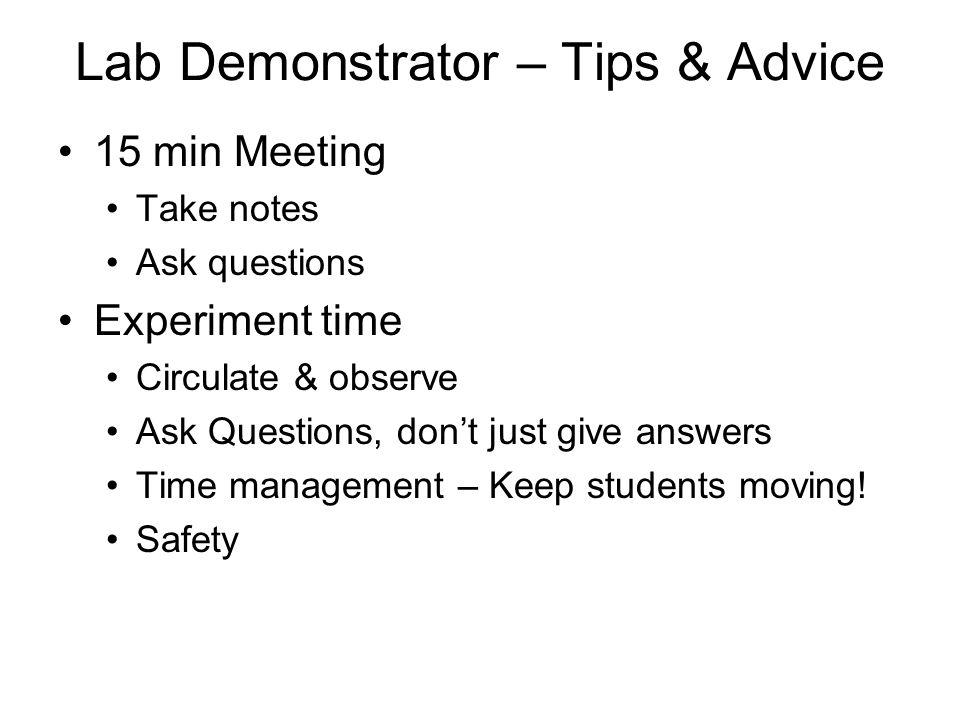 Lab Demonstrator – Tips & Advice