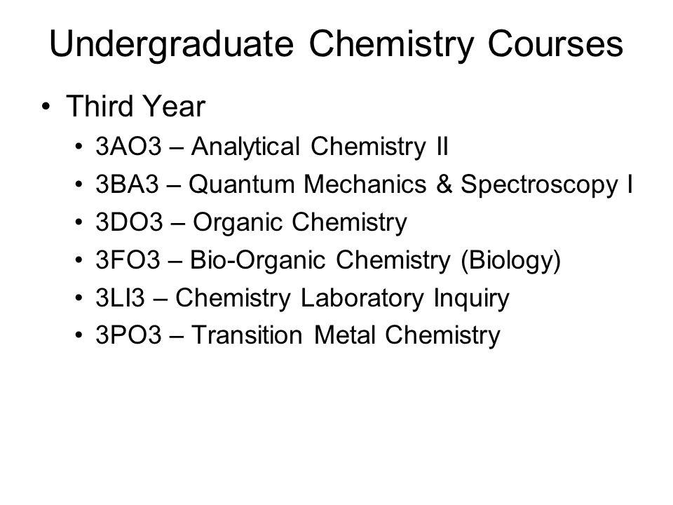 Undergraduate Chemistry Courses