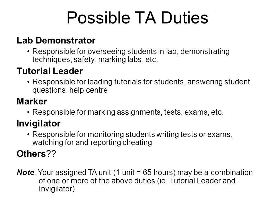 Possible TA Duties Lab Demonstrator Tutorial Leader Marker Invigilator