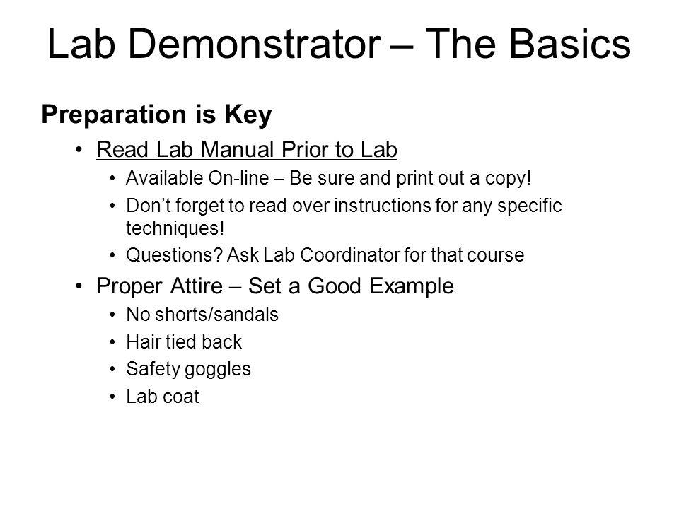 Lab Demonstrator – The Basics