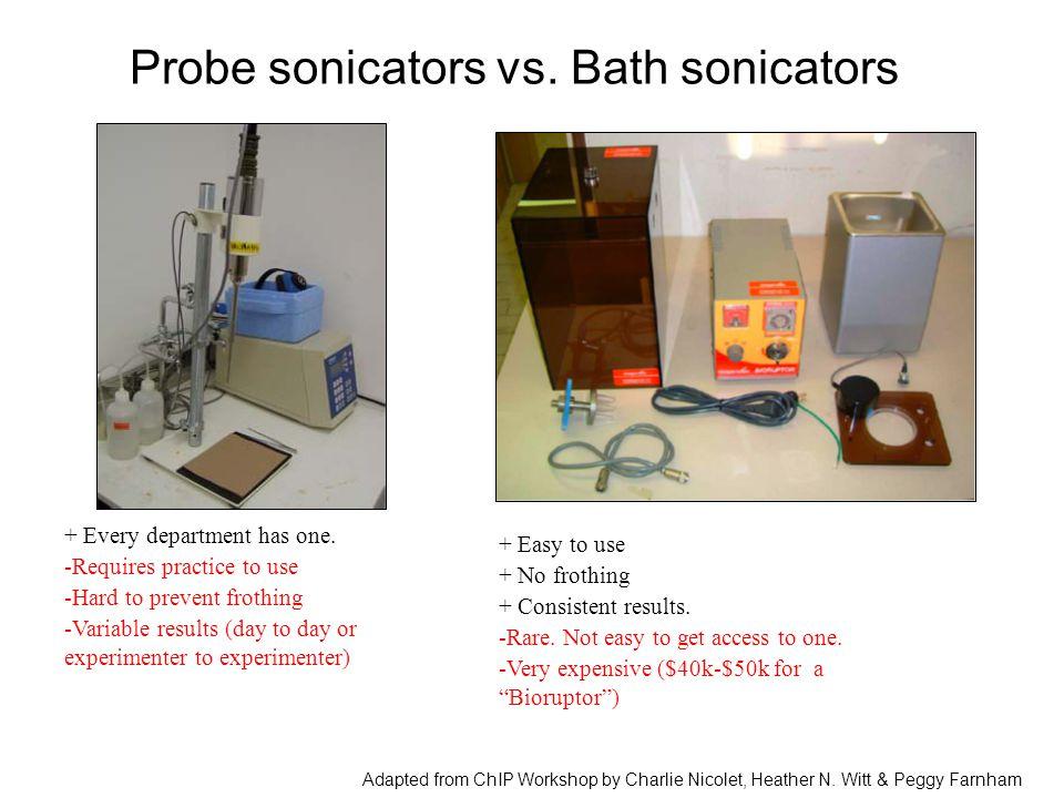 Probe sonicators vs. Bath sonicators