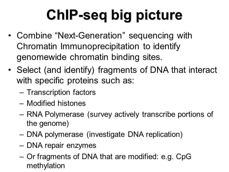 ChIP-seq big picture Combine Next-Generation sequencing with Chromatin Immunoprecipitation to identify genomewide chromatin binding sites.