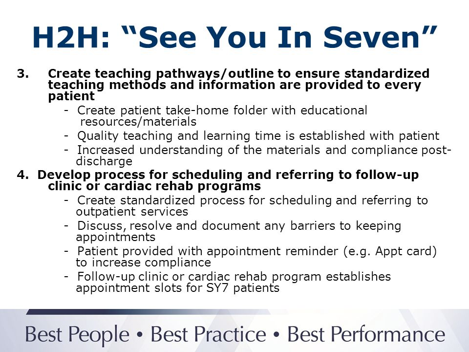H2H: See You In Seven 3. Create teaching pathways/outline to ensure standardized teaching methods and information are provided to every patient.