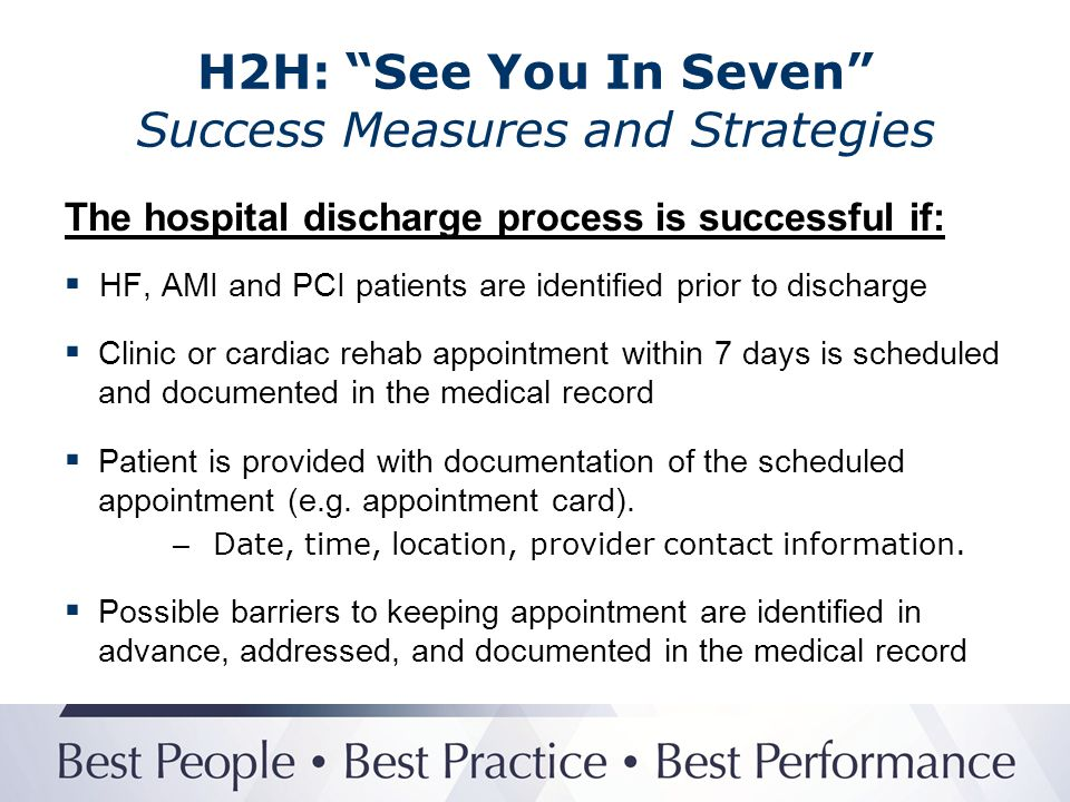 H2H: See You In Seven Success Measures and Strategies