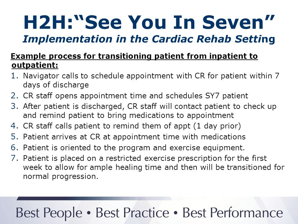 H2H: See You In Seven Implementation in the Cardiac Rehab Setting