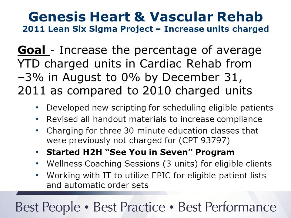 Genesis Heart & Vascular Rehab 2011 Lean Six Sigma Project – Increase units charged