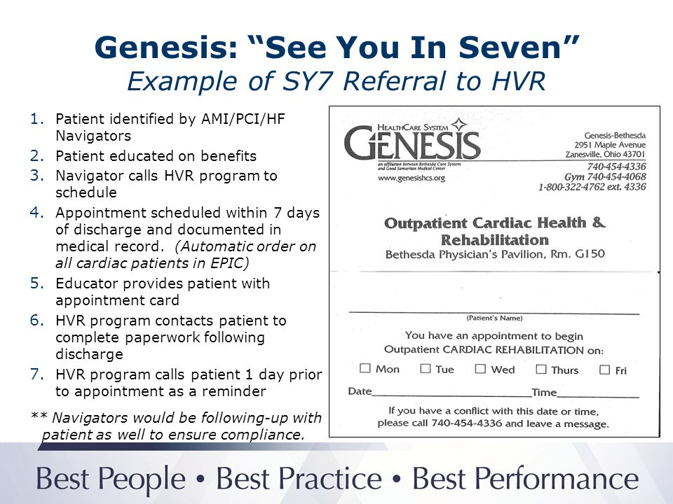 Genesis: See You In Seven Example of SY7 Referral to HVR