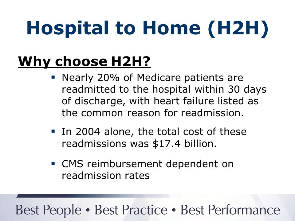 Hospital to Home (H2H) Why choose H2H