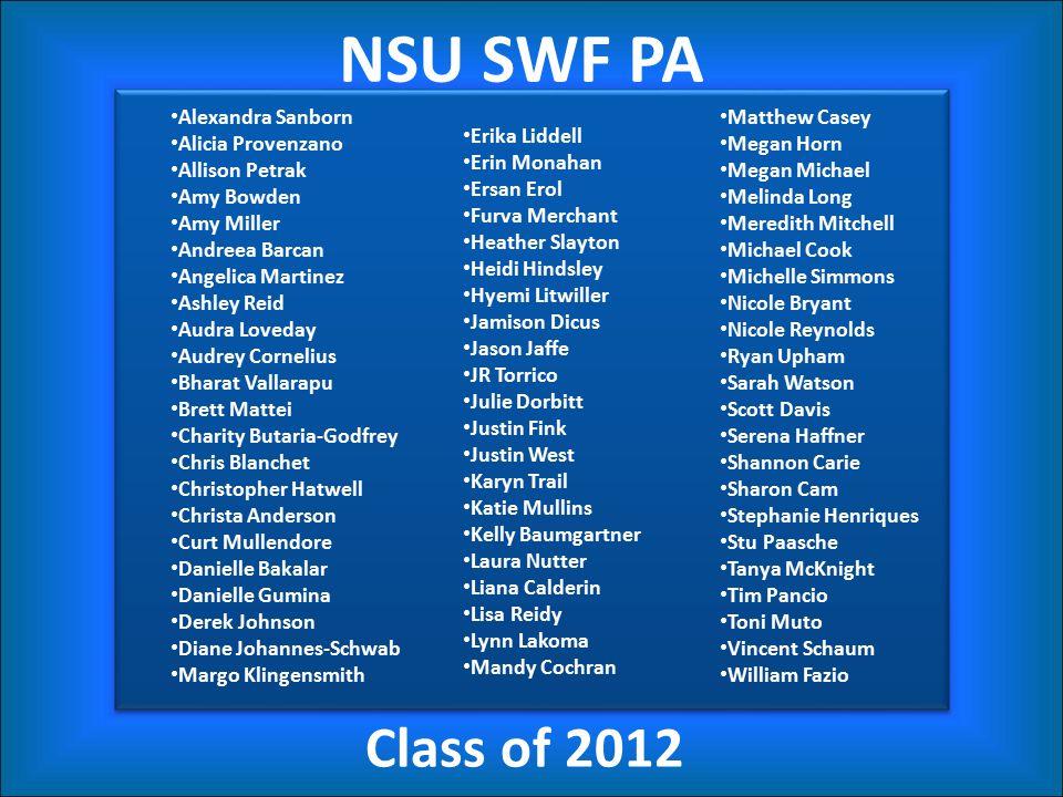 NSU SWF PA Class of 2012 Alexandra Sanborn Alicia Provenzano