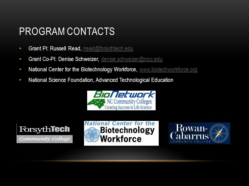 Program Contacts Grant PI: Russell Read, rread@forsythtech.edu