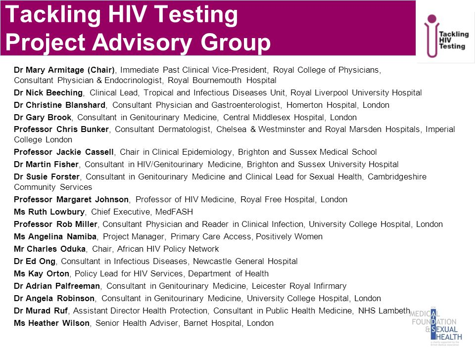 Tackling HIV Testing Project Advisory Group