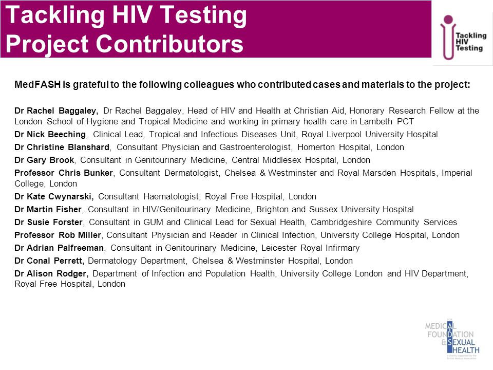 Tackling HIV Testing Project Contributors