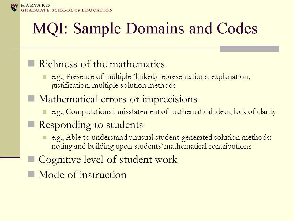 MQI: Sample Domains and Codes