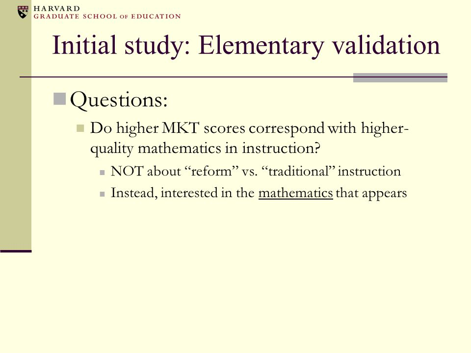 Initial study: Elementary validation