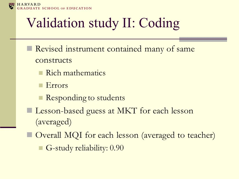 Validation study II: Coding