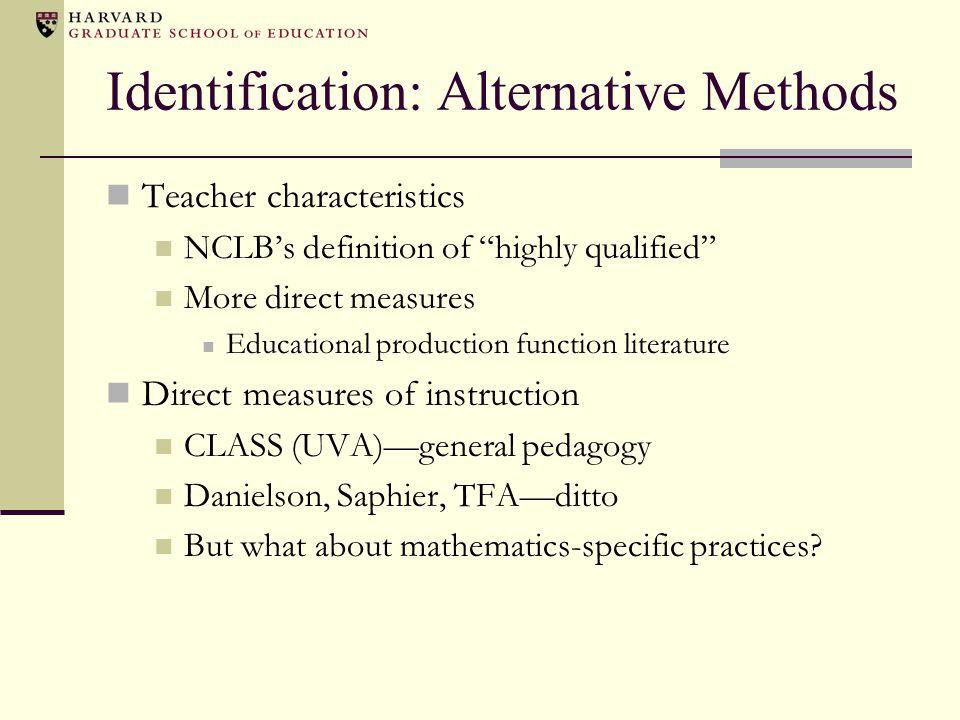 Identification: Alternative Methods