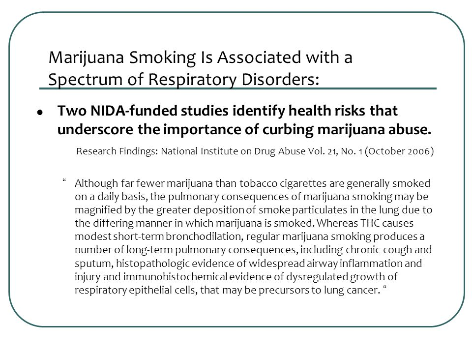 Marijuana Smoking Is Associated with a Spectrum of Respiratory Disorders: