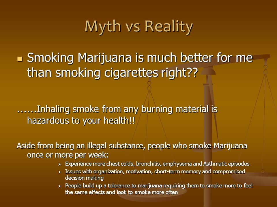 Myth vs Reality Smoking Marijuana is much better for me than smoking cigarettes right