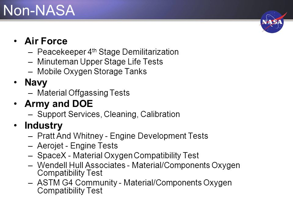 Non-NASA Air Force Navy Army and DOE Industry