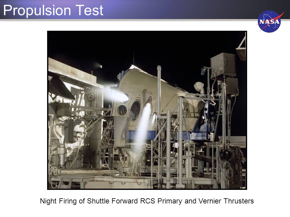 Night Firing of Shuttle Forward RCS Primary and Vernier Thrusters