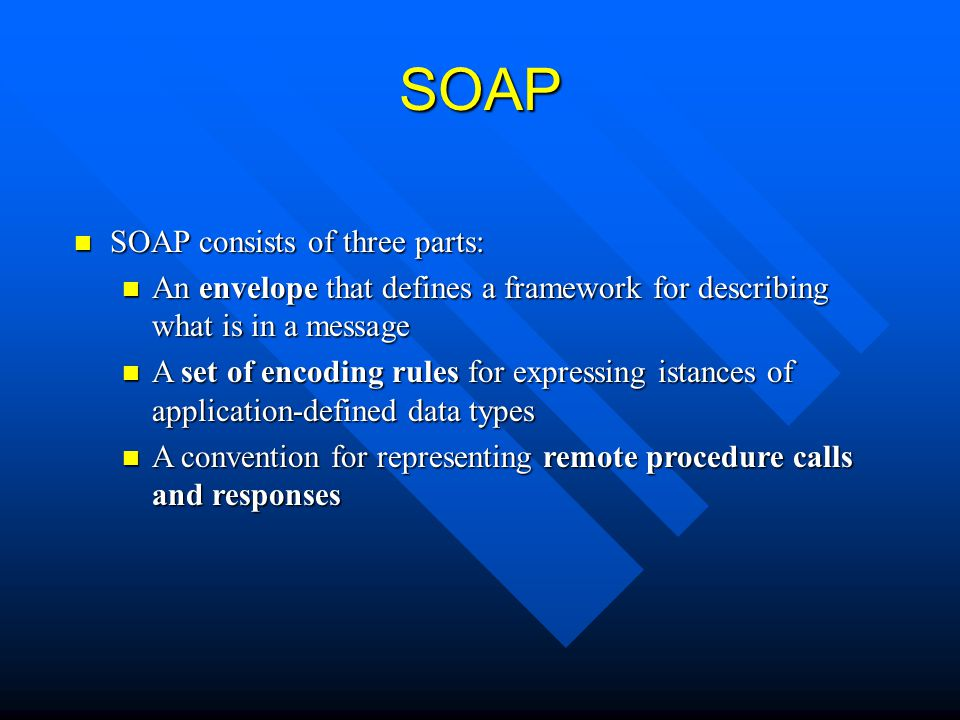SOAP SOAP consists of three parts: