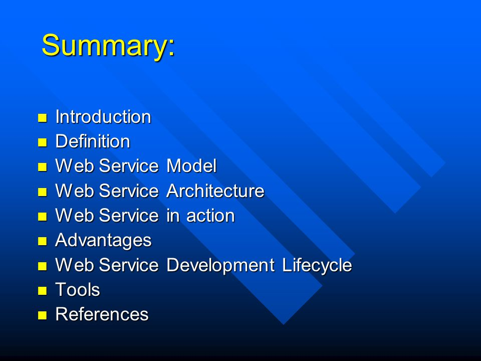Summary: Introduction Definition Web Service Model