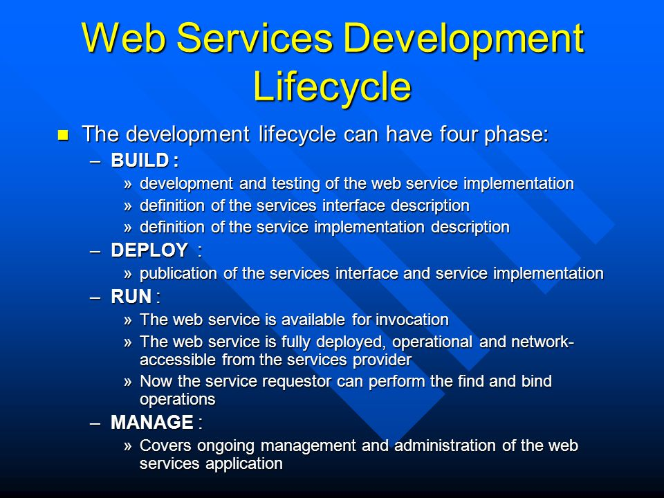 Web Services Development Lifecycle