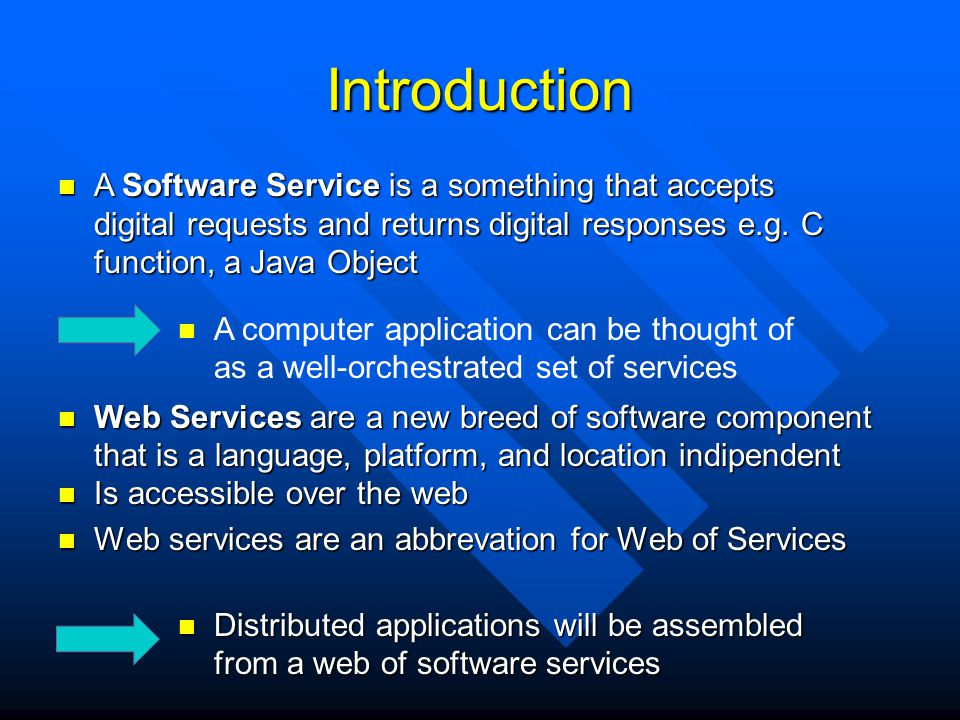 Introduction A Software Service is a something that accepts digital requests and returns digital responses e.g. C function, a Java Object.