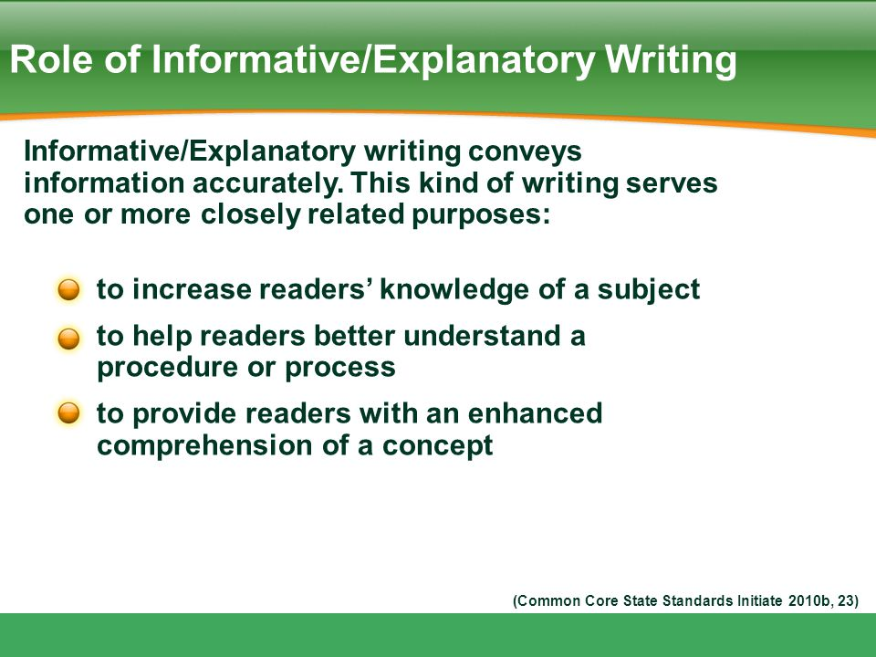 Role of Informative/Explanatory Writing